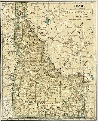 IDAHO Map: 100 Years Old showing Counties, Towns, Topography, Railroads