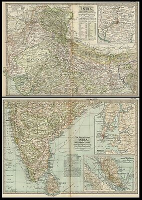 India TWO Maps: Authentic 1897 (Dated) Cities, Towns Topography, RRs Detailed