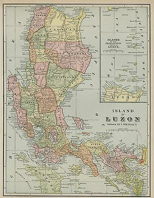 Luzon; Philippines Map: Authentic 1899; showing Towns / Ports / Divisions