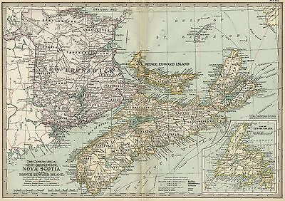 Maritime Provinces, Canada NB NS PEI Map: Authentic 1897 (Dated) Cities, Ports+