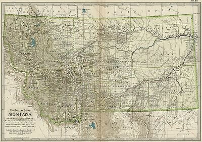 MONTANA Map: Authentic 1897 (Dated) Towns, Counties, Railroads, Topography
