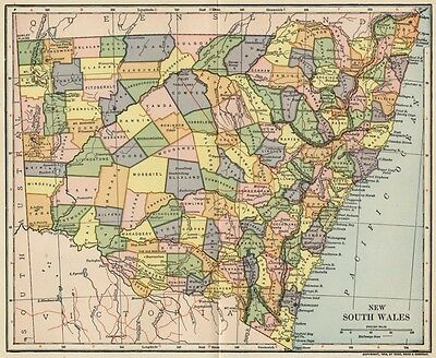 New South Wales Australia Map: Authentic 1903 (Dated) Towns, Cities, Railroads+