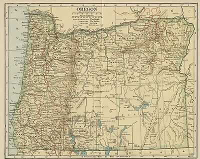 OREGON Map: 100 Years Old showing Counties, Towns, Topography, Railroads