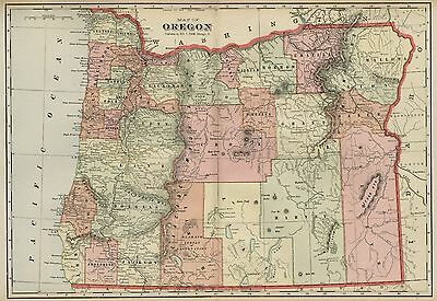 OREGON Map: Authentic 1899; Counties, Cities, Towns, Railroads, Topography