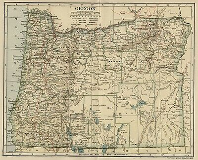 OREGON Map: Authentic 1907 (dated) with Counties, Towns, Topography, Railroads