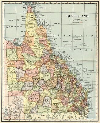 Queensland Australia Map: Authentic 1903 (Dated) Towns, Cities, Railroads Detail