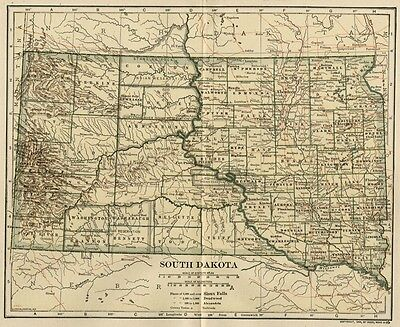 SOUTH DAKOTA Map: Authentic 1907 (dated) with Counties, Towns, Topog, Railroads