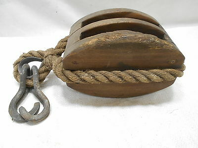 Vintage Wooden Ship's Pulley Two  Wood Wheels Rope and Hooks Japanese #162