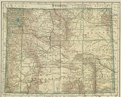 WYOMING Map: 100 Years Old showing Counties, Towns, Topography, Railroads