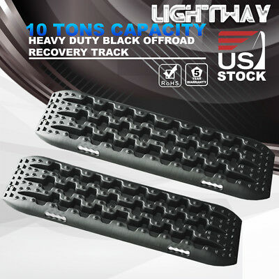 LIGHTWAY Recovery Traction Tracks Off Road Sand Snow Track Tire Ladder 4WD Black