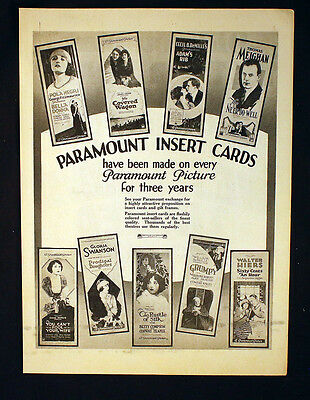 Paramount Insert Cards Or Westbound Limited Ad Silent Film Hollywood Movie 1923