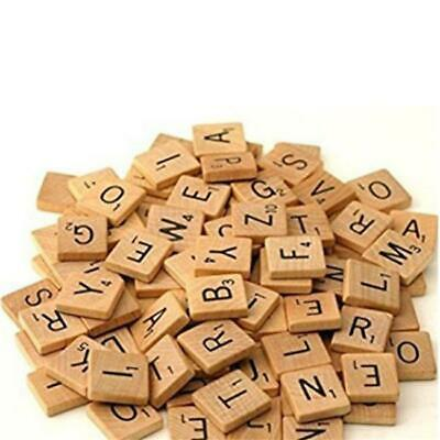 100 Wooden Alphabet Scrabble Tiles Black Letters & Numbers For Crafts Wood Toy Y