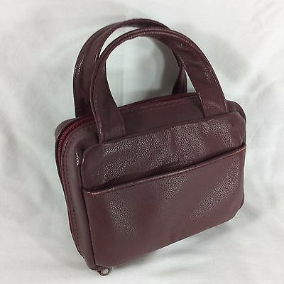 Maroon Nappa Leather Compact LDS Scripture Case Mormon Mini Small Tote Carrying