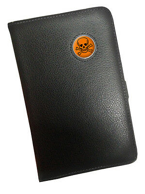 "Orange "" Skull Und Knochen "" Wappen Schwarz Leder Golf Scorecard Holder"