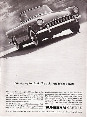 Original Print Ad-1961 SUNBEAM ALPINE-Some people think the ashtray is too small