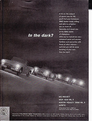 Original Print Ad-1961 British Motors Corp-in the dark? MG/SPRITE/AUSTIN HEALEY