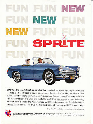 Original Print Ad-1961 NEW BMC SPRITE-BMC has the inside track on outdoor fun!