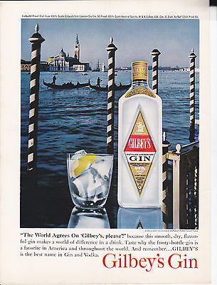 """Original Print Ad-1962 GILBEY'S GIN     """"The World Agree's on Gilbey's Please!"""""""