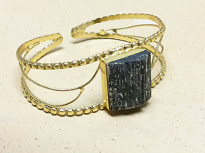 BLACK TOURMALINE (Natural/Rough)  Adjustable Bangle/Bracelet .925 Silver Plated