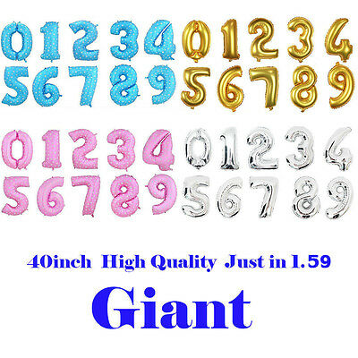 "40"" Giant Foil Number Balloons Helium Large Baloons Happy Birthday Party Gifts"