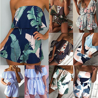 Womens Holiday Playsuit Ladies Jumpsuit Romper Summer Beach Dress Off-Shoulder