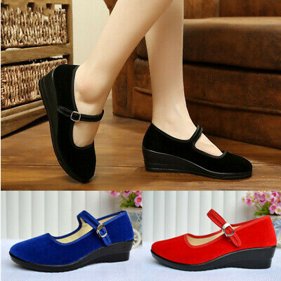 Womens Ladies Mid Wedge Heel Mary Jane Dance Office Work Formal Strap Shoes New