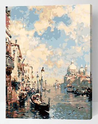 Framed Painting by Number kit The Grand Canal Venice Water City Sea DIY ML7288