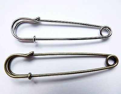 Large Kilt, Safety Pins, No Loops, brooch making - Silver & Antigue bronze (K)