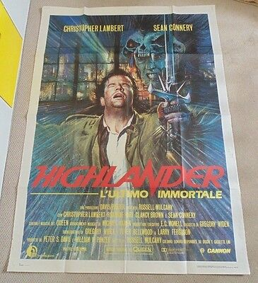 "Highlander Original Huge Italian 39"" X 55"" Cinema Poster 1986 Connery Lambert"