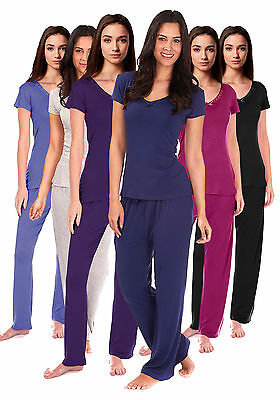Womens Bow Trim Comfy PJ Pyjama Set Viscose PJ's Pyjamas Ladies Lounge Wear