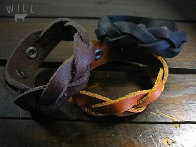 "NEW Will Leather Goods Thick Lightweight Leather Cuff Bracelet ""District"""