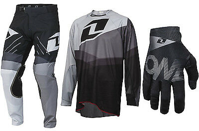 One Industries Vapor Motocross Kit Combo Pants Jersey Gloves Shifter Grey Black