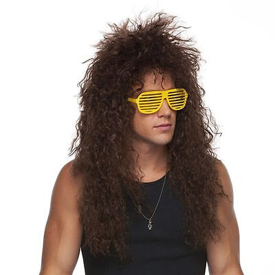 High Quality Heavy Metal 80's Hair Bands Brown Curly Adult Costume Wig Rock Star