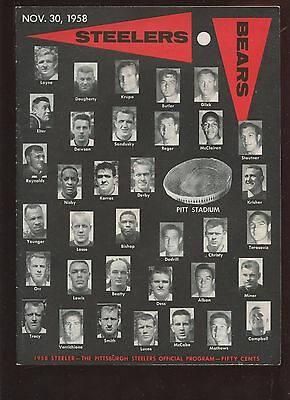 November 30 1958 NFL Program Chicago Bears at PIttsburgh Steelers EX