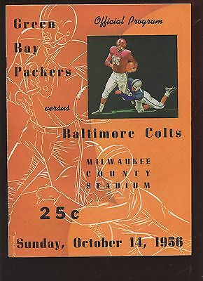 October 14 1956 NFL Program Baltimore Colts at Green Bay Packers EX+