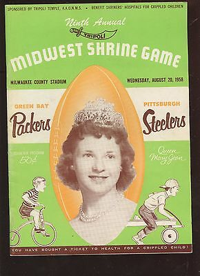 August 20 1958 NFL Program Pittsburgh Steelers at Green Bay Packers EX