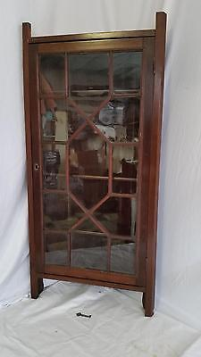 Antique Eastlake Victorian Small Corner Wall Cabinet,Cupboard,Shelf,Glass Door
