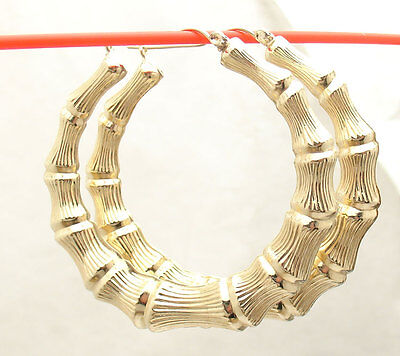 GOLD Bamboo earring Round HOOP earring 10k real Yellow 5.1g 45mm