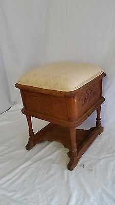 Antique Victorian Lift Top Spoon Carved Oak Stool,Ottoman,Sewing Cabinet,Box