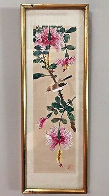Small Framed Signed Asian Japanese Watercolor Silk Painting Bird Flowers
