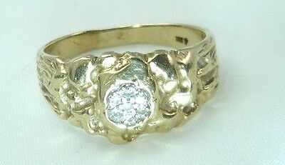 Vintage 10K Yellow Gold Natural Diamond Mans Nugget  Ring  Size 9.25  Or 9 1/4