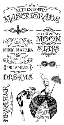Graphic45 MIDNIGHT MASQUERADE #1 Cling Stamps Set of (7) scrapbooking