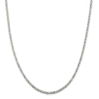 ".925 Sterling Silver 2.5mm Polished Square Byzantine Chain Necklace 7"" - 30"""