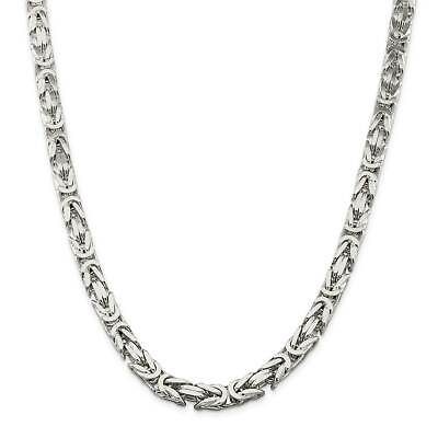 ".925 Sterling Silver 8.25mm Polished Square Byzantine Chain Necklace 9"" - 24"""