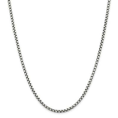 """.925 Sterling Silver 2.0mm Antiqued Fancy Chain Necklace 20"""" - 24"""""""