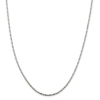 """.925 Sterling Silver 2mm Fancy Beaded Chain Necklace 16"""" - 24"""""""