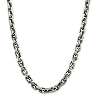 """.925 Sterling Silver 8.6mm Antiqued Fancy Link Chain Necklace 8.5"""" - 24"""""""