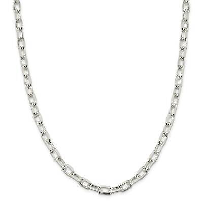 ".925 Sterling Silver 7.5mm Polished Fancy Link Chain Necklace 18"" - 24"""
