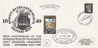 (97979) GB Cover Romney Hythe Dymchurch Railway Letter Hercules 10 Sept 1990