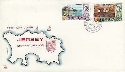 (98003) CLEARANCE GB FDC Jersey FDC 50p 5p Definitives 28 January 1975